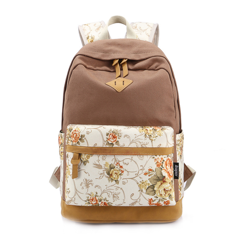5 pcs of BEAU Floral Canvas Bag Backpack School for Teenager Girl Laptop Bag Printing Backpack Women Backpack Khaki ziqiao 306 stylish casual zippered canvas backpack for laptop computer khaki