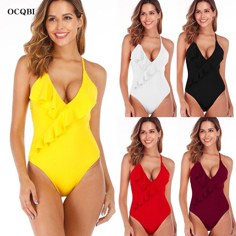 OCBQI 2019 Sexy red Swimsuit Women Swimwear One Piece Bodysuit Push Up Monokini new