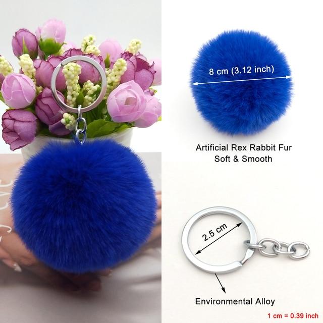 30 Colors Fluffy Fur Pom Pom Keychains Soft Faux Rex Rabbit Fur Ball Car Keyring Pompom Key Chains Women Bag Pendant Jewelry Diy 1