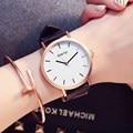 2017 gimto marca reloj de señoras vestido de las mujeres reloj de cuarzo de oro correa de cuero moda mujer reloj ocasional del relogio reloj montre