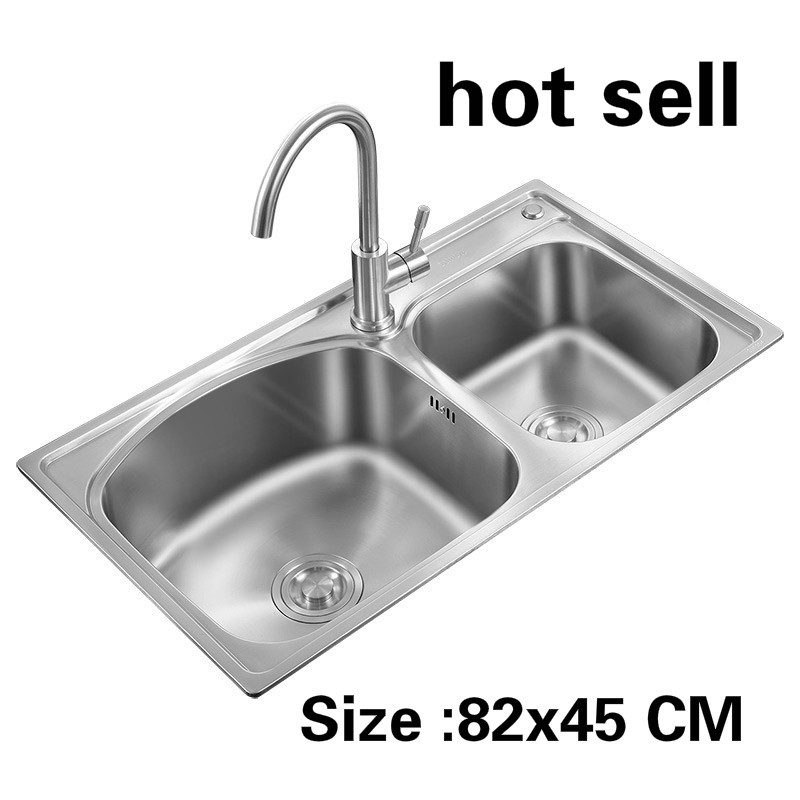 Free Shipping Apartment Food Grade 304 Stainless Steel Standard Kitchen Double Groove Sink Hot Sell 82x45 CM