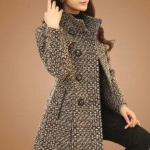 Coat Winter Outerwear Turtleneck Blends Plaid Wool Elegant Women's Long-Tweed Female