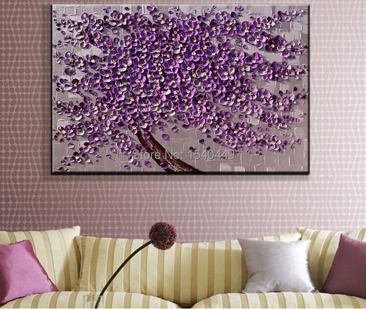 Hand Painted Palette Knife Painting Purple Flower Wall Art Home ...