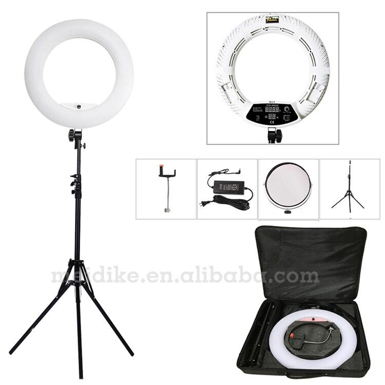Yidoblo blanc FD-480II 18 LED Light Ring Kit 480 LED Chaud et Froid 2 couleur Réglable Éclairage Photographique + stand (2 M) + sac Souple