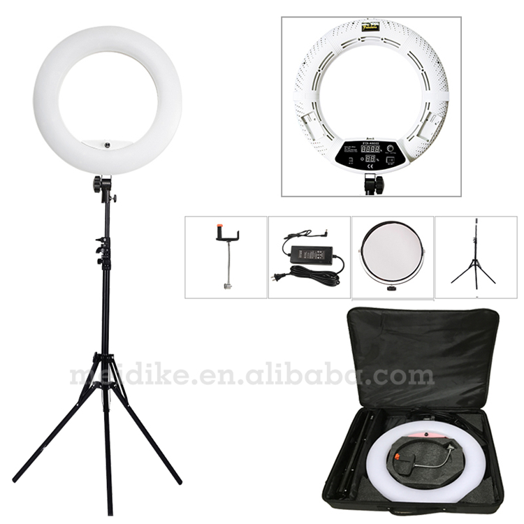 Yidoblo white FD-480II 18 LED Ring Light Kit 480 LED Warm & Cold 2 color Adjustable Photographic Lighting+ stand (2M)+ Soft bag