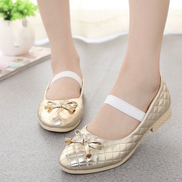 Girls School Shoes Gold Princess Girls High Heels Children Patry Dance Shoes For Girls Lace Bow Girls Leather Shoes