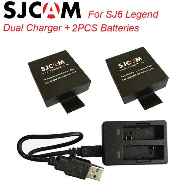 SJCAM Accessories 2PCS SJ6 Batteries Rechargable Battery + Dual Charger For SJCAM SJ6 Legend Sport Action Camera Accessory