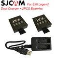 Sjcam acessórios 2 pcs baterias bateria recarregável + carregador duplo para sjcam sj6 sj6 lenda ação esporte câmera acessório