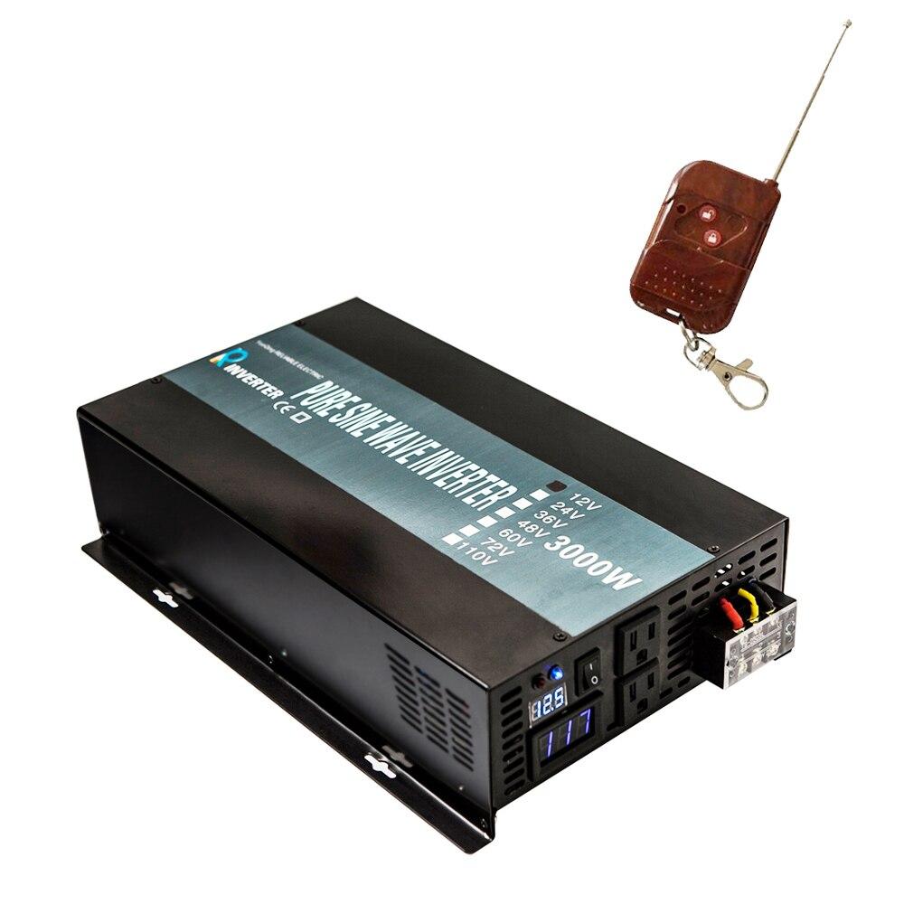 Onde sinusoïdale Pure Énergie Solaire Onduleur 3000 w 24 v DC à 220 v AC Voiture Onduleur Transformateur 12 v /24/48 v à 120 v/230 v/240 v Télécommande