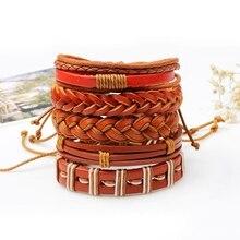 MJARTORIA 1Set/6PCs Vintage Leather Love Bracelets For Women Punk Bible Leather Bangle Male Wristband Wrap Men Indian Jewelry