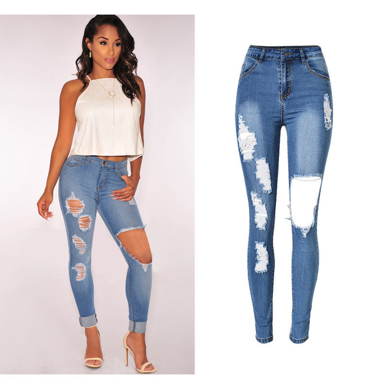 SUNSPA New Brand Boyfriend hole ripped denim jeans for women high waist Vintage jeans skinny  2017 pocket blue trousers