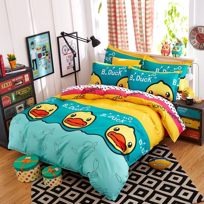 New Cartoon Pandon Yellow Duck Reactive Printing Bedding Set Duvet Cover Pillowcase Bed Sheet 3/4Pcs Twin Full Queen King S