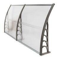 200 x 100 Household Application Door Window Rain Cover Eaves Canopy Silver Gray Bracket