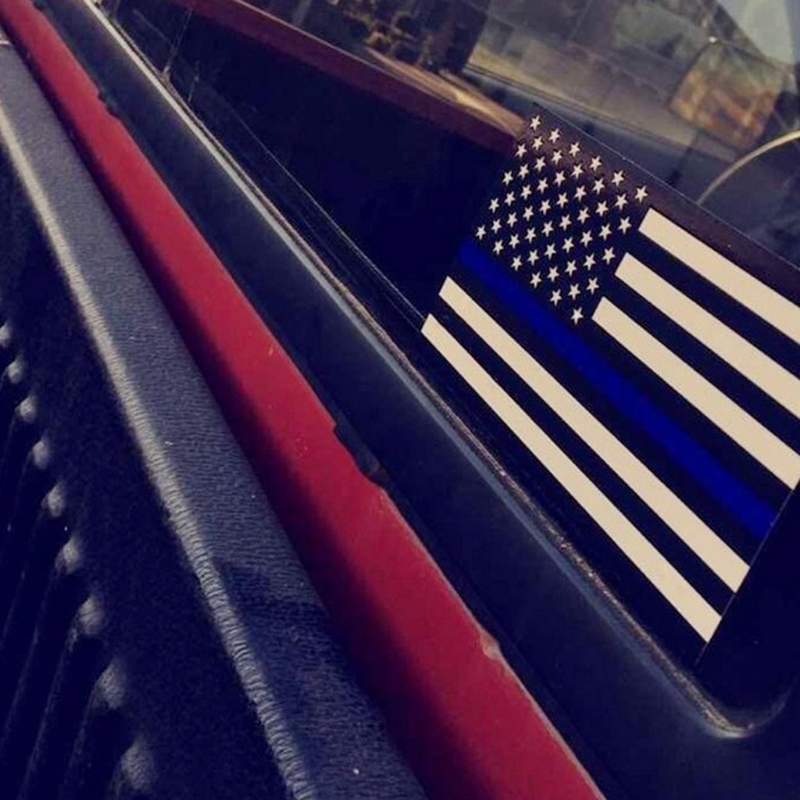 Image 3 - 1PCS Police Officer Thin Blue Line American Flag Vinyl Decal Car Sticker #1-in Car Stickers from Automobiles & Motorcycles