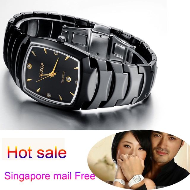 Aesop Famous Brand Watch Couple Ceramic Black Quartz Watches Swiss Movement Sapphire Luxury Military Wristwatch Gift For Mens