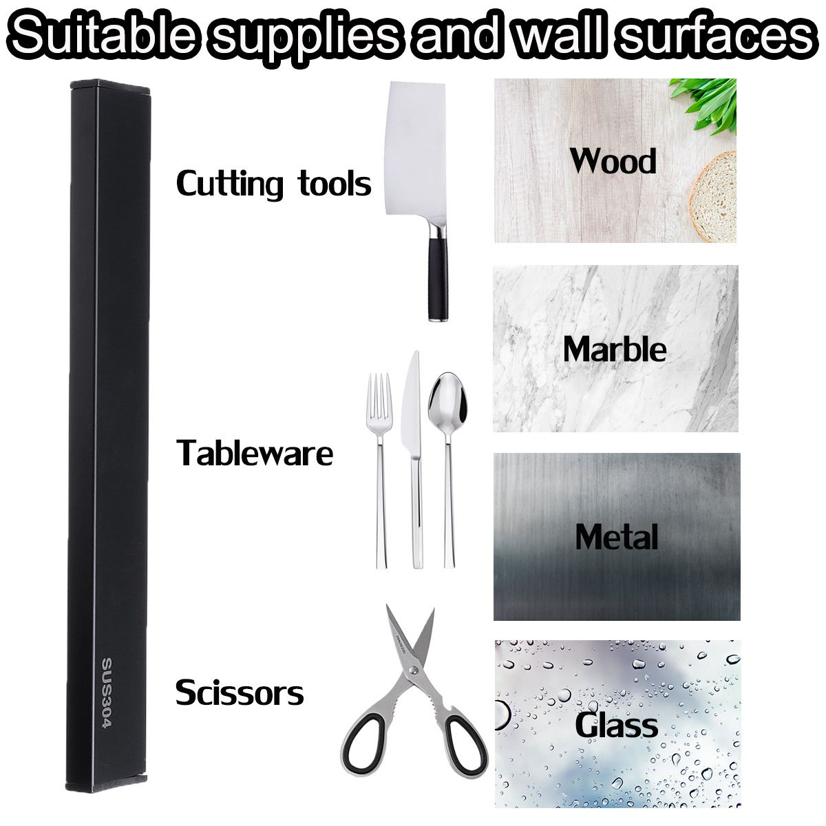 30/40/50cm Length Magnetic Knifes Rack Self-adhesive Tableware Scissors Cutting Tool Holder Stainless Steel Knife Holder Stand