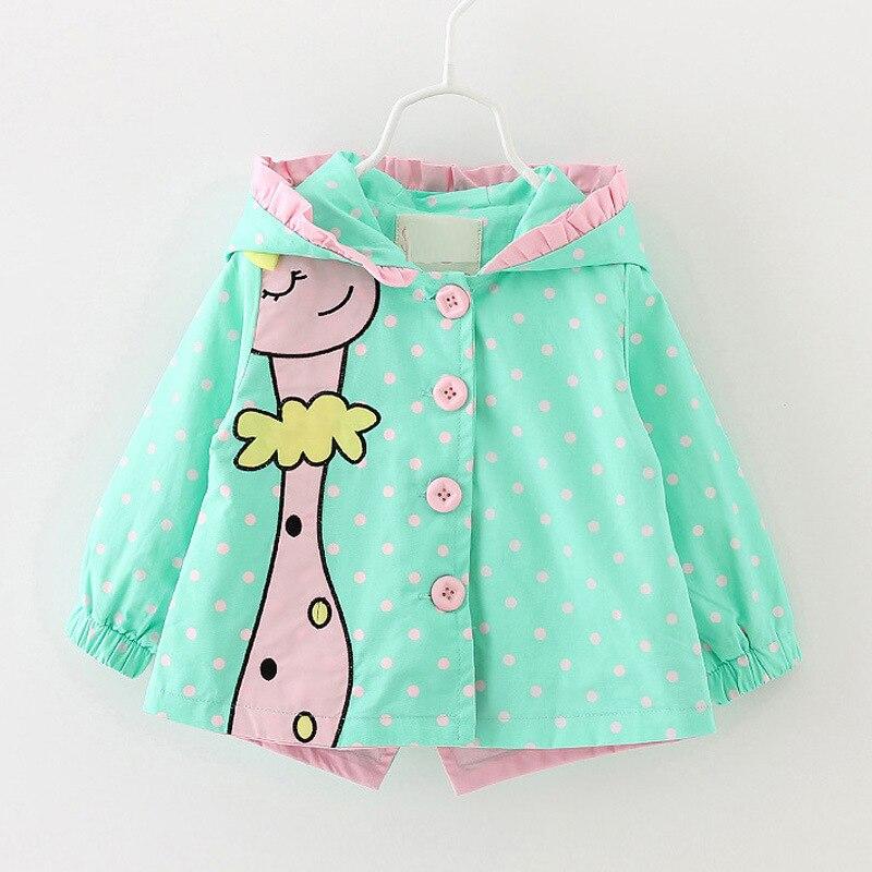 1-4T Children jacket Girls Jackets Cartoon Giraffe Jacket for girls Windbreaker Infant coat Baby girl jacket Outerwear CC027
