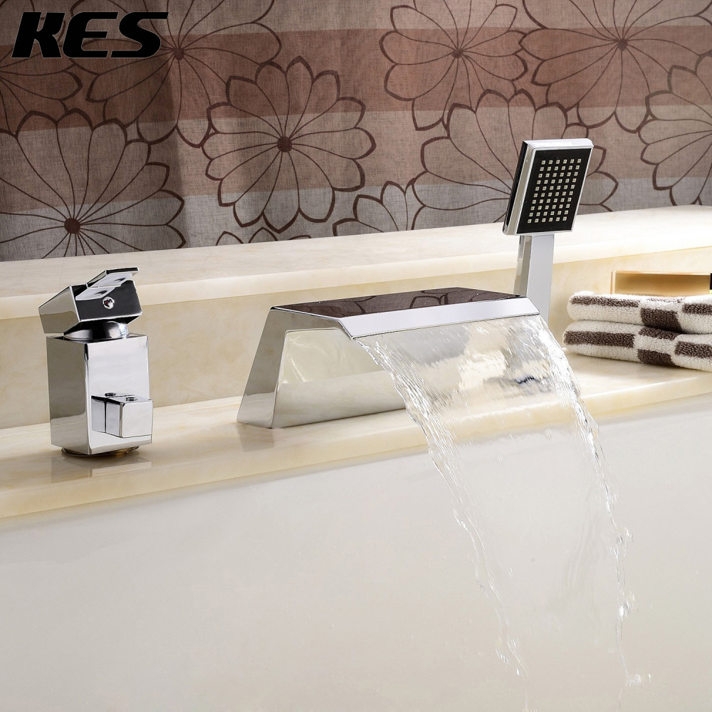 online buy wholesale waterfall tub filler from china waterfall tub  - kes bathroom roman tub filler with hand shower brass faucet mixer hole waterfallspout