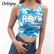 Darlingaga Streetwear Blauw Camouflage Crop Top Vrouwen Bodysuit Brief Print Zomer Tops Casual Vest Cropped Tank Top Haut Femme(China)