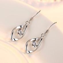 925 Sterling Silver Rotate Zircon Stud Earrings Jewelry for Women