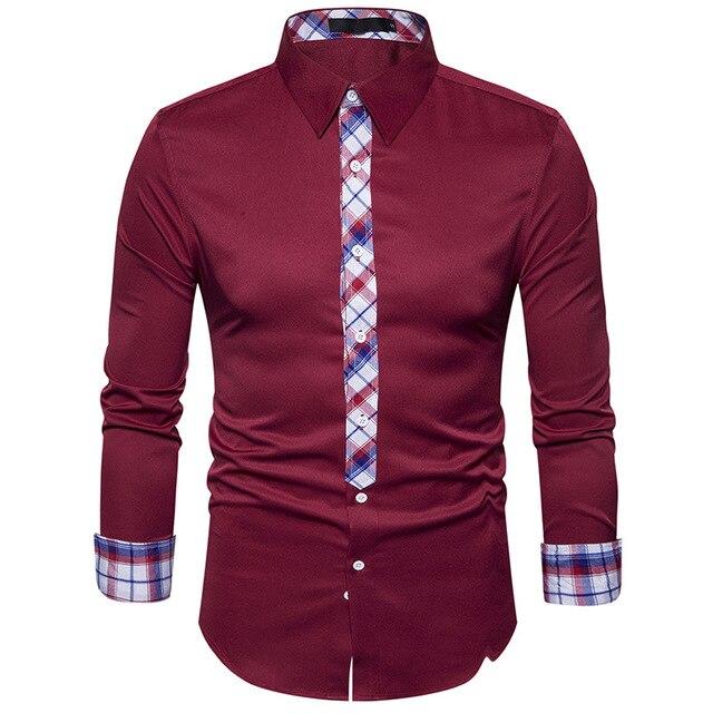 fb00d4ee7fda New Brand Men Shirt Fake Tie Business Mens Slim Fit Dress shirt Social Long  Sleeve Casual
