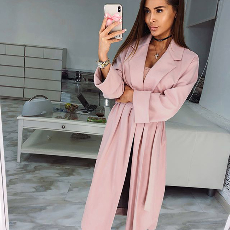 Women Spring Autumn Windbreaker Casual Pink   Trench   Coat Long Outerwear Loose Clothes For Lady With Belt