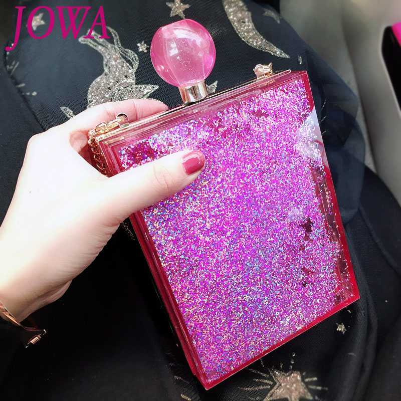 d6f42a52c3 US $29.5 |2017 New Design Fashion Mini Flap Women's Evening Bags  Transparent Acrylic Hard Handbag Pink Heart Sequined Clutches Night  Purse-in ...