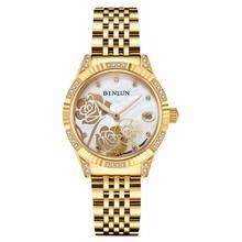 BINLUN Ladies 18K Gold Automatic Mechanical Watch Diamante Waterproof Luxury Wrist Watches for Women