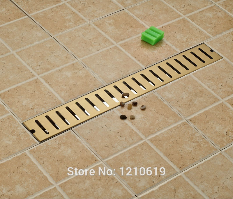 Newly Stainless Steel Bathroom Balcony Floor Drain Ti-Gold Plate 70*10cm Shower Strainer Floor Filler цена и фото
