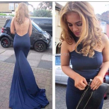 New Fashion navy blue High Neck Mermaid Floor Length Long Prom Dress Vestidos Formals Party Gowns Backless