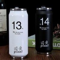 Pop Peut Style En Acier Inoxydable Vide Tasse avec de la Paille Thermos D'eau bouteille avec Paille Voyage Tasses Garder L'eau Chaude ou Froide SH190