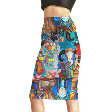 Women's New Sexy Colored Murals Ancient People 3D Print Skirts Fashion High Waist Package Hip Skirt Size S M L XL XXL XXXL XXXXL