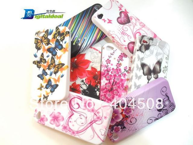 brand new 5pcs/lot cell phone case for iphone 4 4s 5 5g Flower Butterfly Colorful Soft TPU back cover Case shell mobile case