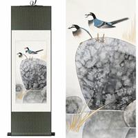 Traditionele Chinese Zijde Originele aquarel bloem en vogels inkt steen art canvas muur damast foto ingelijst rolschildering
