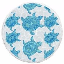 Tortuga impresa toalla de playa ronda hippie tapiz playa tiro roundie tiro la toalla estera redonda mesa de tela tapices de pared yoga mat