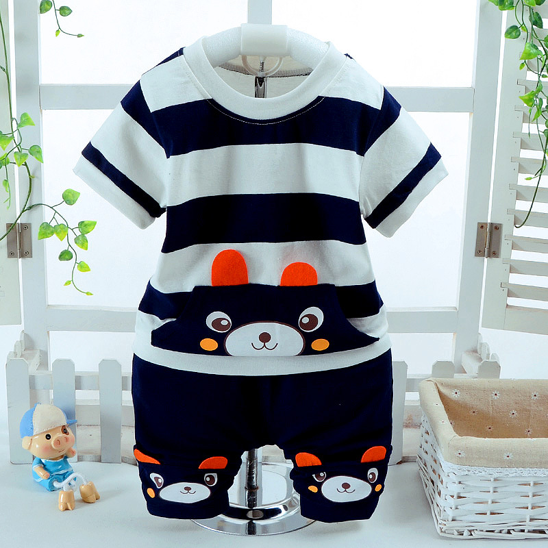 BOTEZAI Boys Clothing Sets 2018 Summer Style Baby boys girls Clothes Cartoon Bear T-shirt+Pants 2Pcs Children Clothing summer girls boys clothes kids set velvet hello kitty cartoon t shirt hoodies pant twinset long sleeve velour children clothing