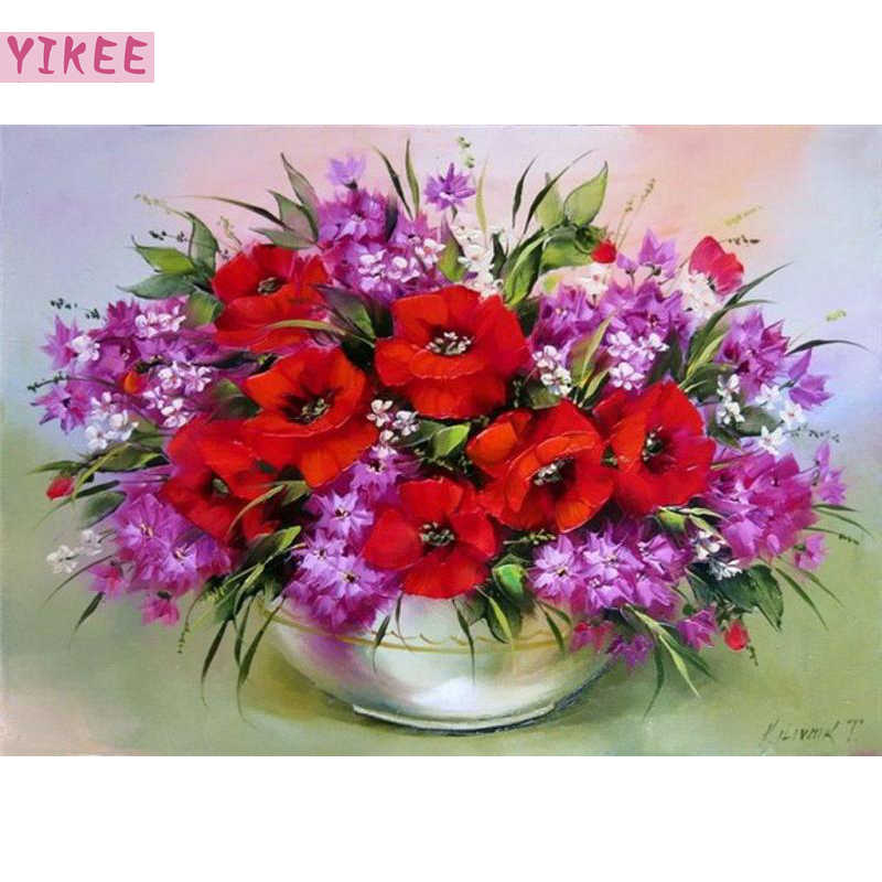 DIY handmade wall decorative canvas painting by numbers poppy ,flowers painting by numbers as a birthday gift
