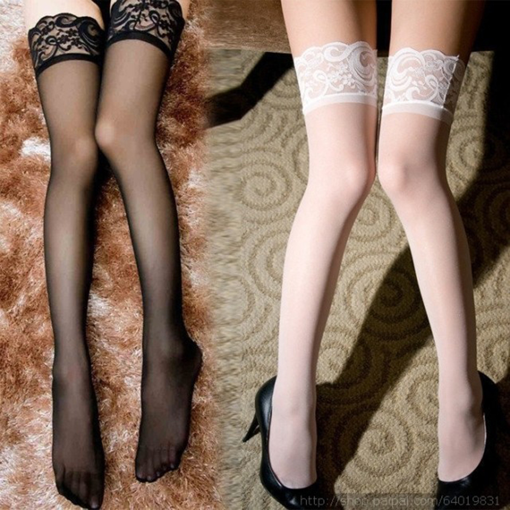 Women Lace Top Sheer Silk Over Knee Sexy Silicone Band Stay Up Stockings