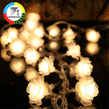 Coversage 10M 100 Led String Garland Julgran Rose Flower Fairy Light Luce Hem Garden Party Outdoor Holiday Decoration