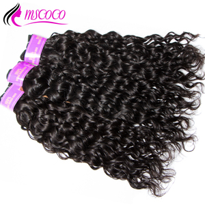 Image 3 - Mscoco saç su dalgası demetleri ile kapatma Remy brezilyalı saç örgü 3 demetleri ıslak ve dalgalı insan saç demetleri ile kapatma