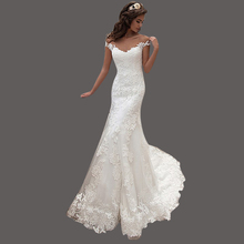 Mermaid Wedding Gowns Germany Sweep Train Boat Neck Vestidos De Novia Cap Sleeve Robe De Marriage With Lace Appliqued KS51