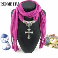 RUNMEIFA Scarves For Women 6 Colors Fashion Tassels Jewellery Scarf With Cross Pendant