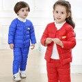 Conjuntos de Roupas 2 PCS terno Crianças jaqueta de inverno Para Baixo Casaco + calças Crianças quente Para Baixo roupas Das Meninas Dos Meninos O-pescoço Outerwear terno