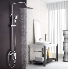 Большая акция 8 inch 3 Функция Chrome отделка латунь сделал Душ смеситель для душа дождь Насадки для душа смеситель для ванной комнаты