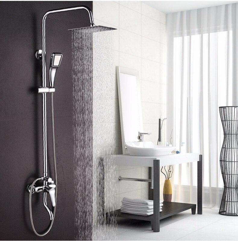 Gran promoción 8 pulgadas 3 latón cromado hecho grifo de ducha de lluvia cabeza de ducha bañera mezclador grifo para el cuarto de baño