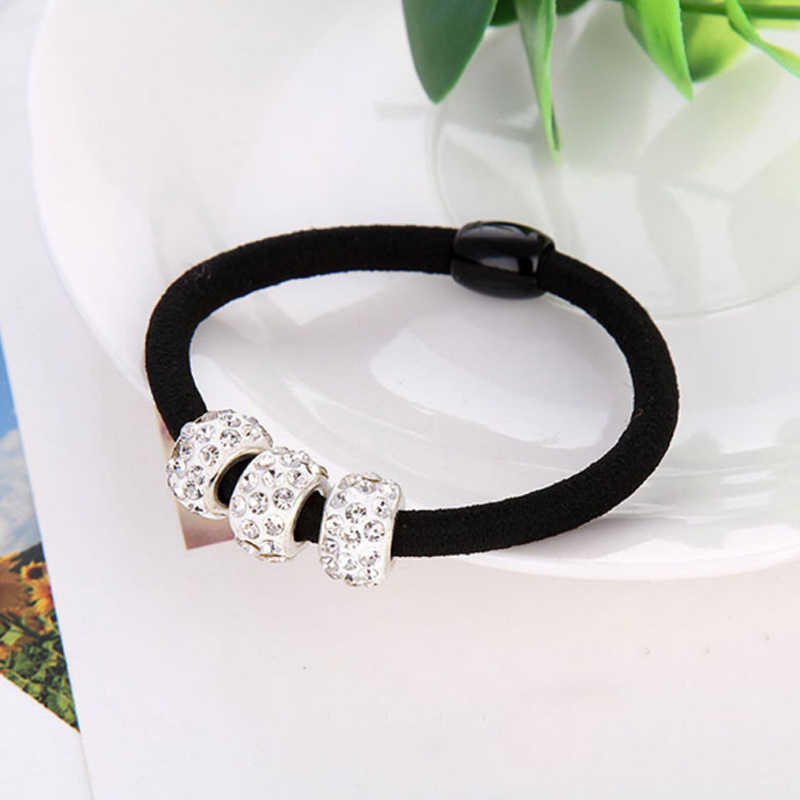 Hot High Quality Women Three Lovely Full Crystal Elastic Ropes Ponytail Holder Alloy Hair Bands Ornaments