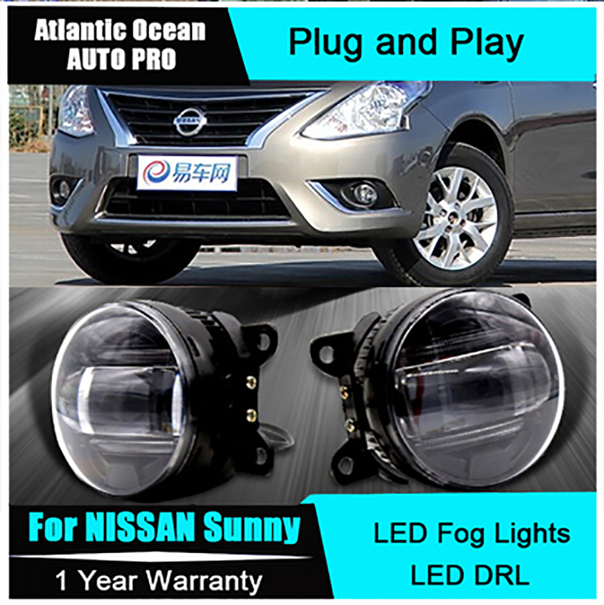 Auto Pro Car Styling LED fog lamps For NISSAN sunny led DRL with lens For NISSAN sunny LED fog lights led daytime running lights new led fog light with drl daytime running lights with lens fog lamps car styling led refit original fog for toyota venza
