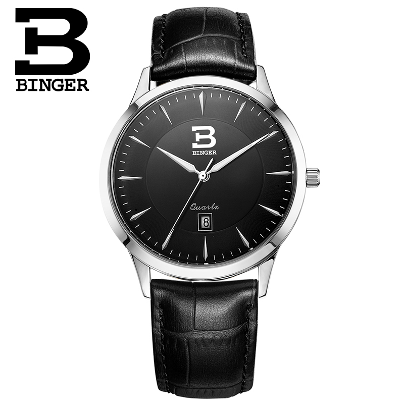 Switzerland Mens Watch luxury brand BINGER business quartz Genuine Leather Water Resistance Untra-thin Wristwatches B3005M-3Switzerland Mens Watch luxury brand BINGER business quartz Genuine Leather Water Resistance Untra-thin Wristwatches B3005M-3