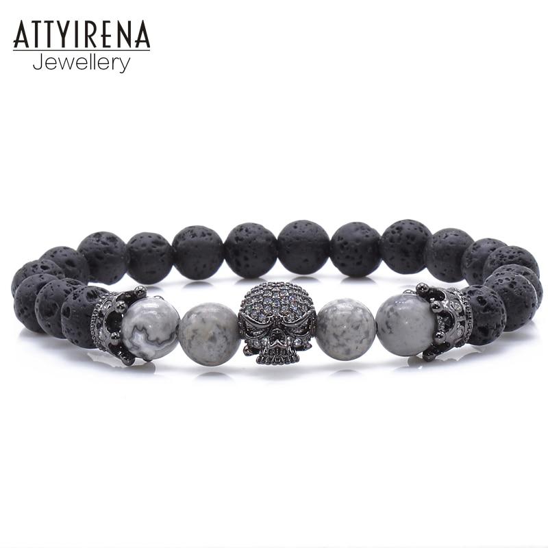 ATTYIRENA Volcanic Lava Stone Natural Striped Stone 8mm Beaded Bracelet Micro Pave CZ Skull Charms Bracelets Dzi Stone Jewelry