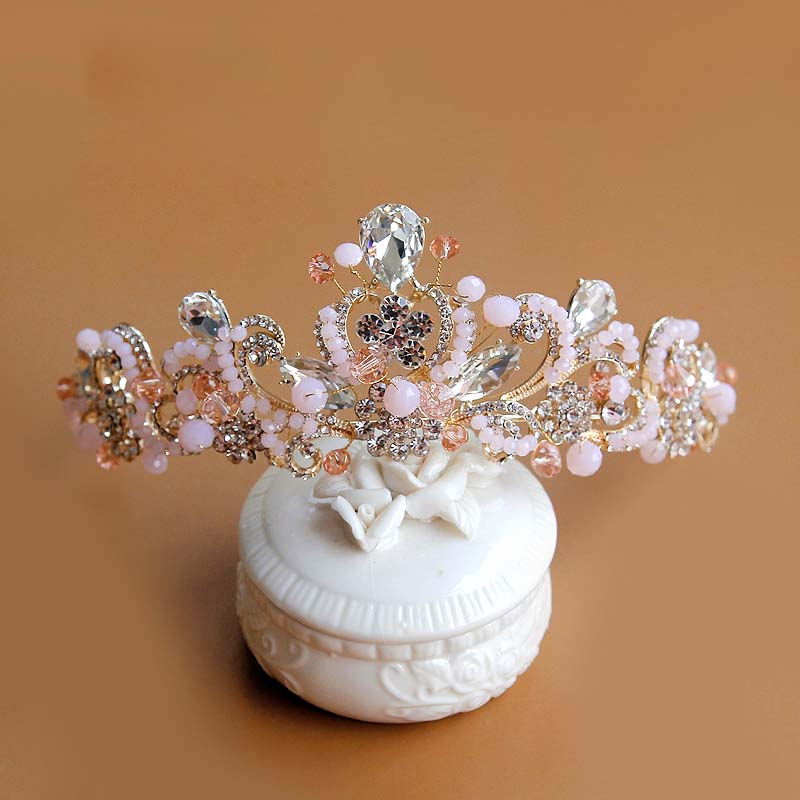 Ornaments Pink Headdress Crown-Crown Crystal Bride Korean Chaton Stage Children